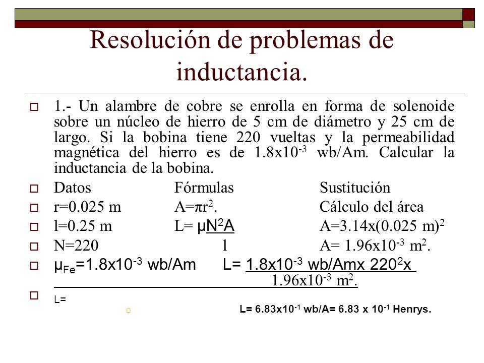 Resolución de problemas de inductancia. 1.- Un alambre de cobre se enrolla en forma de solenoide sobre un núcleo de hierro de 5 cm de diámetro y 25 cm