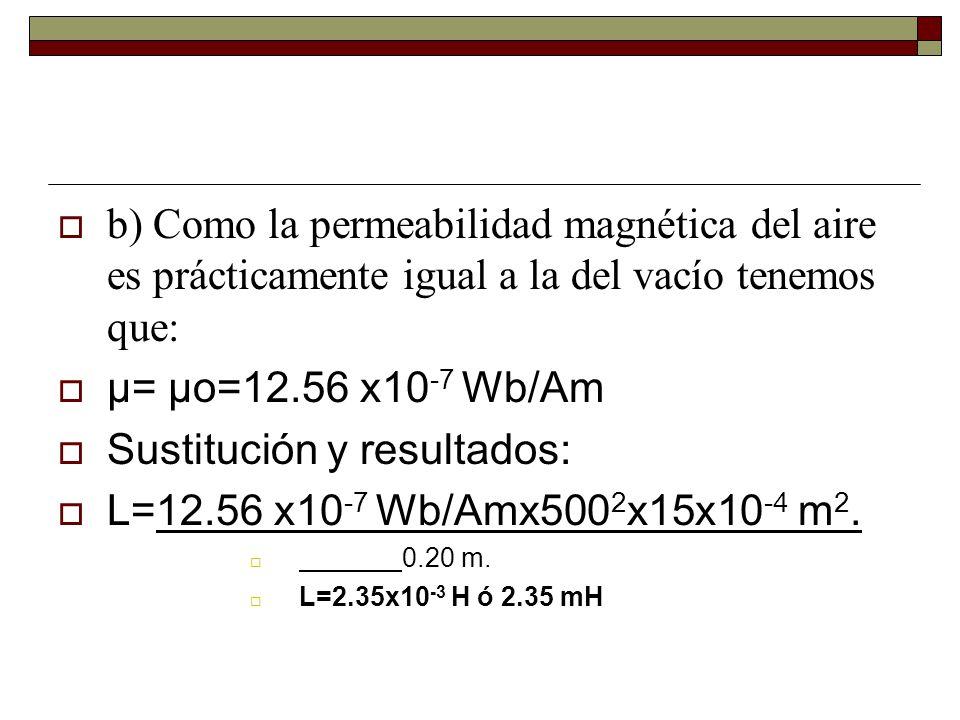b) Como la permeabilidad magnética del aire es prácticamente igual a la del vacío tenemos que: μ= μo=12.56 x10 -7 Wb/Am Sustitución y resultados: L=12.56 x10 -7 Wb/Amx500 2 x15x10 -4 m 2.