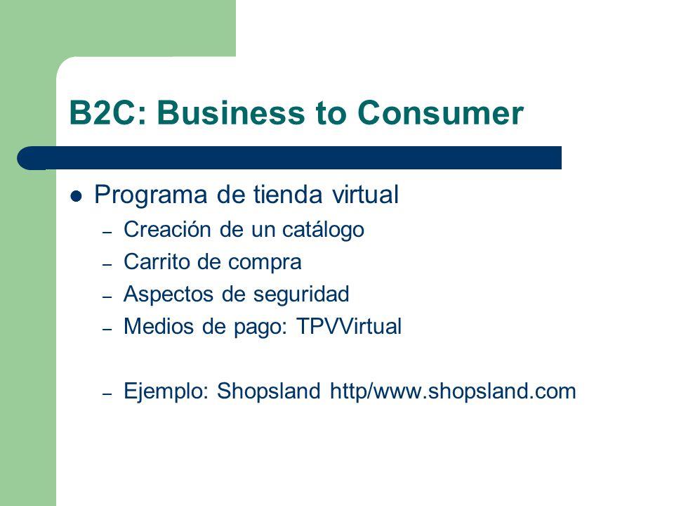 B2C: Business to Consumer Programa de tienda virtual – Creación de un catálogo – Carrito de compra – Aspectos de seguridad – Medios de pago: TPVVirtual – Ejemplo: Shopsland http/www.shopsland.com