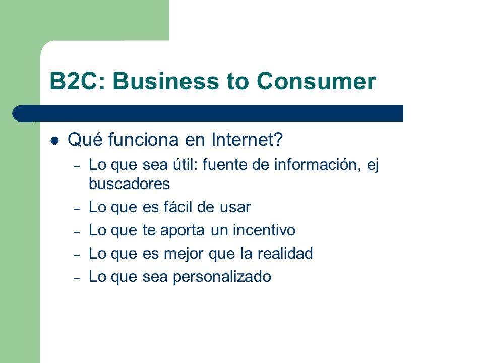 B2C: Business to Consumer Qué funciona en Internet.