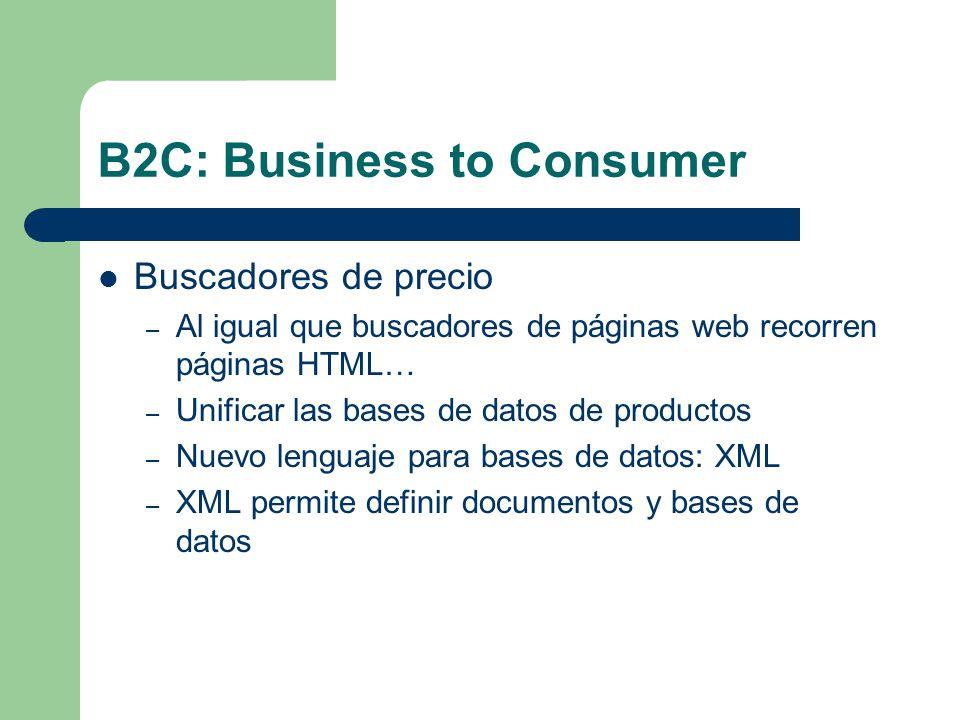 B2C: Business to Consumer Buscadores de precio – Al igual que buscadores de páginas web recorren páginas HTML… – Unificar las bases de datos de productos – Nuevo lenguaje para bases de datos: XML – XML permite definir documentos y bases de datos