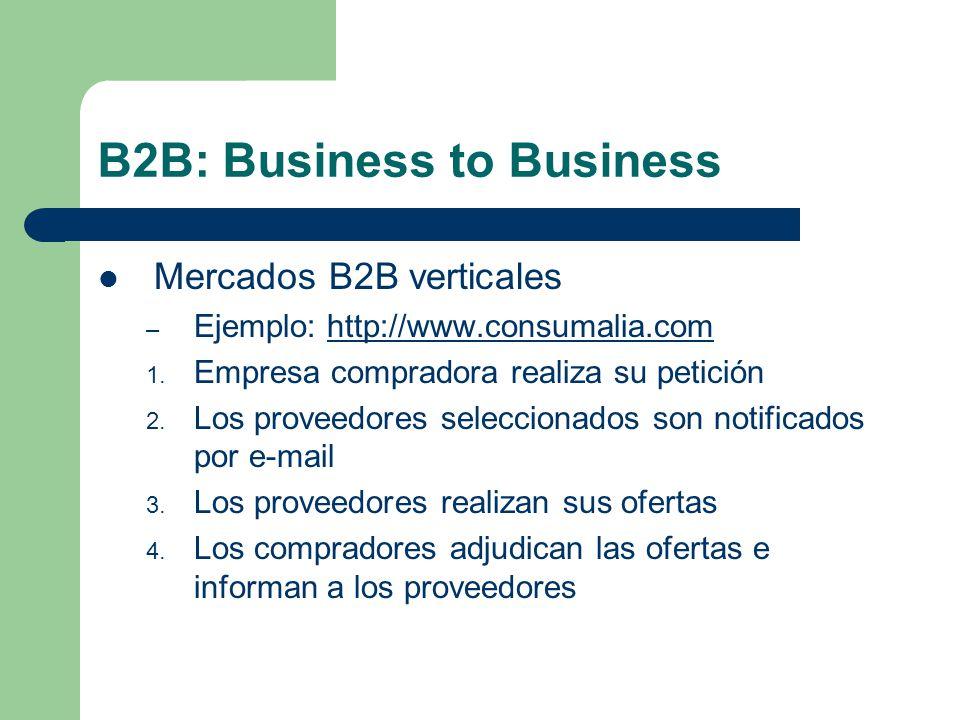 B2B: Business to Business Mercados B2B verticales – Ejemplo: http://www.consumalia.comhttp://www.consumalia.com 1.