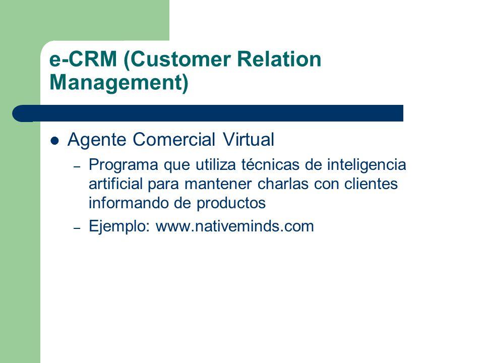 e-CRM (Customer Relation Management) Agente Comercial Virtual – Programa que utiliza técnicas de inteligencia artificial para mantener charlas con clientes informando de productos – Ejemplo: www.nativeminds.com
