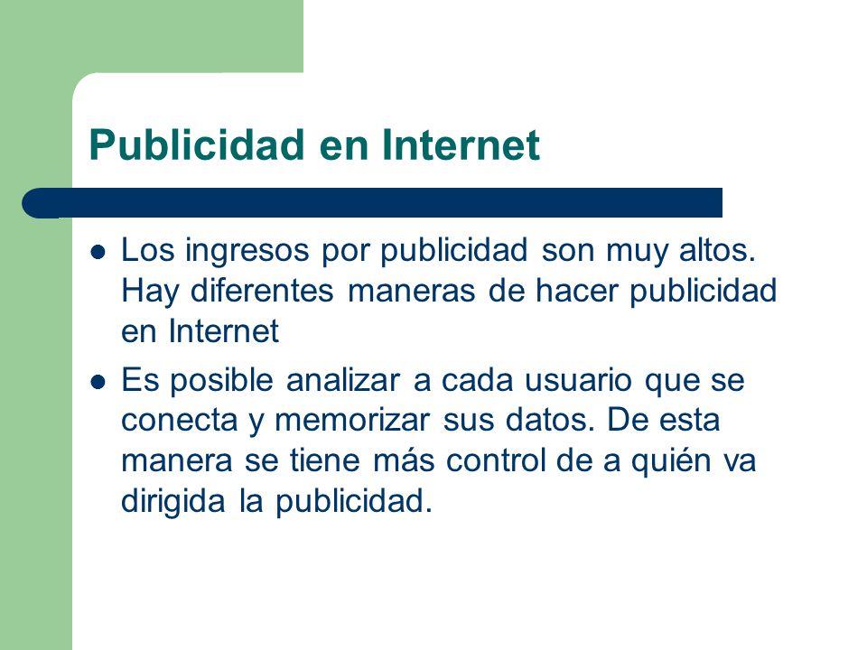 Publicidad en Internet Los ingresos por publicidad son muy altos.