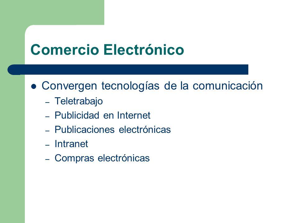 Comercio Electrónico Convergen tecnologías de la comunicación – Teletrabajo – Publicidad en Internet – Publicaciones electrónicas – Intranet – Compras electrónicas