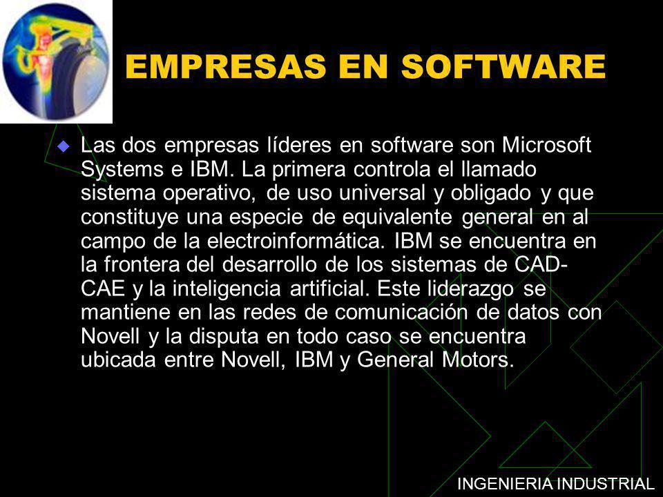 INGENIERIA INDUSTRIAL EMPRESAS EN SOFTWARE Las dos empresas líderes en software son Microsoft Systems e IBM. La primera controla el llamado sistema op