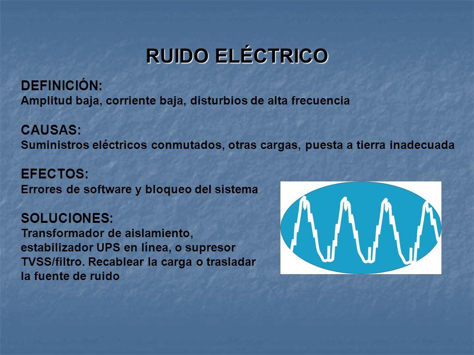 RUIDO ELÉCTRICO DEFINICIÓN: Amplitud baja, corriente baja, disturbios de alta frecuencia CAUSAS: Suministros eléctricos conmutados, otras cargas, puesta a tierra inadecuada EFECTOS: Errores de software y bloqueo del sistema SOLUCIONES: Transformador de aislamiento, estabilizador UPS en línea, o supresor TVSS/filtro.