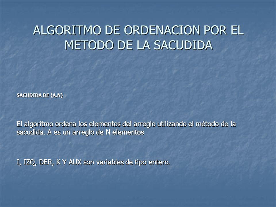 ALGORITMO DE ORDENACION POR EL METODO DE LA SACUDIDA SACUDIDA DE (A,N) El algoritmo ordena los elementos del arreglo utilizando el método de la sacudida.