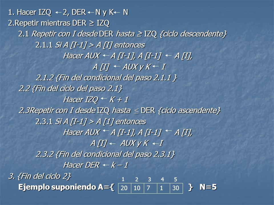 Public void sacudida(int []A, int N){ Public void sacudida(int []A, int N){ int izq,der,k,aux; int izq,der,k,aux; izq=1; der=N-1; k=N-1; izq=1; der=N-1; k=N-1; while(der>=izq){ while(der>=izq){ for(int i=der; i>=izq; i--){ for(int i=der; i>=izq; i--){ if(A[i-1]> A[i]){ if(A[i-1]> A[i]){ aux= A[i+1]; A[i+1]= A[i]; aux= A[i+1]; A[i+1]= A[i]; A[i]= aux; k=i; A[i]= aux; k=i; } } izq= k+1; izq= k+1; for(int i=izq; i<=der; i++){ for(int i=izq; i<=der; i++){ if(A[i-1]> A[i]){ if(A[i-1]> A[i]){ aux= A[i+1]; A[i+1]= A[i]; aux= A[i+1]; A[i+1]= A[i]; A[i]= aux; k=i; A[i]= aux; k=i; } } der= k-1; der= k-1; } }A= }A= 203482 0 1234
