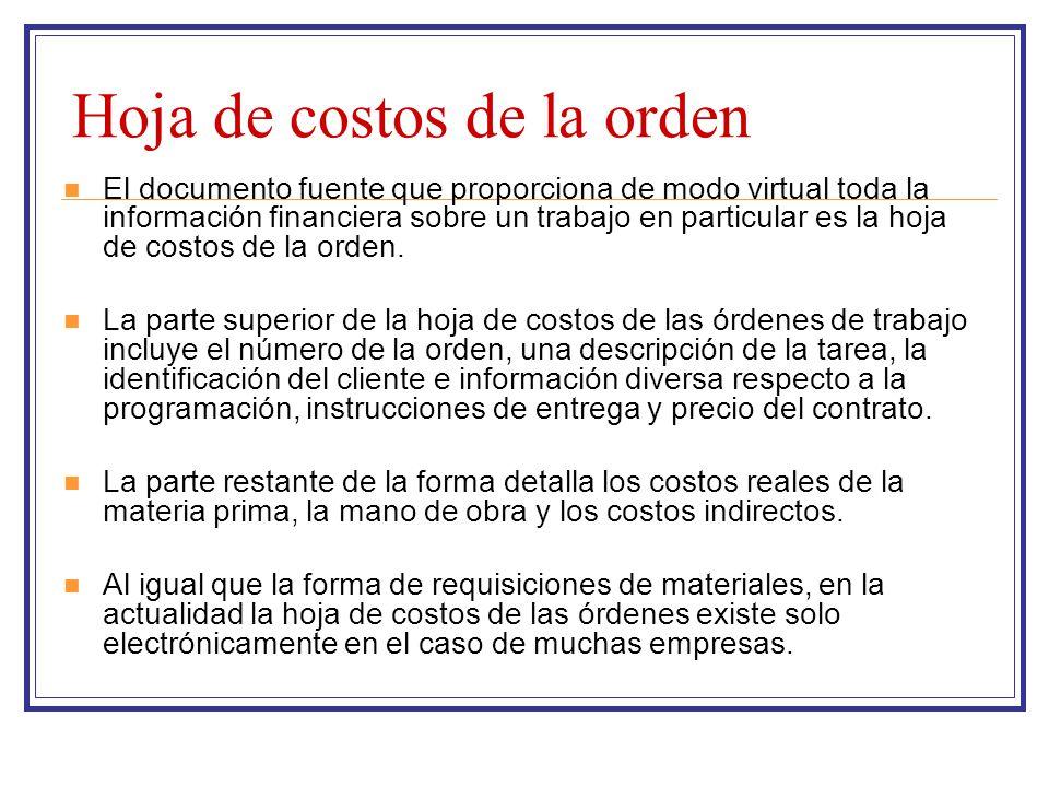 Hoja de costos de la orden El documento fuente que proporciona de modo virtual toda la información financiera sobre un trabajo en particular es la hoj