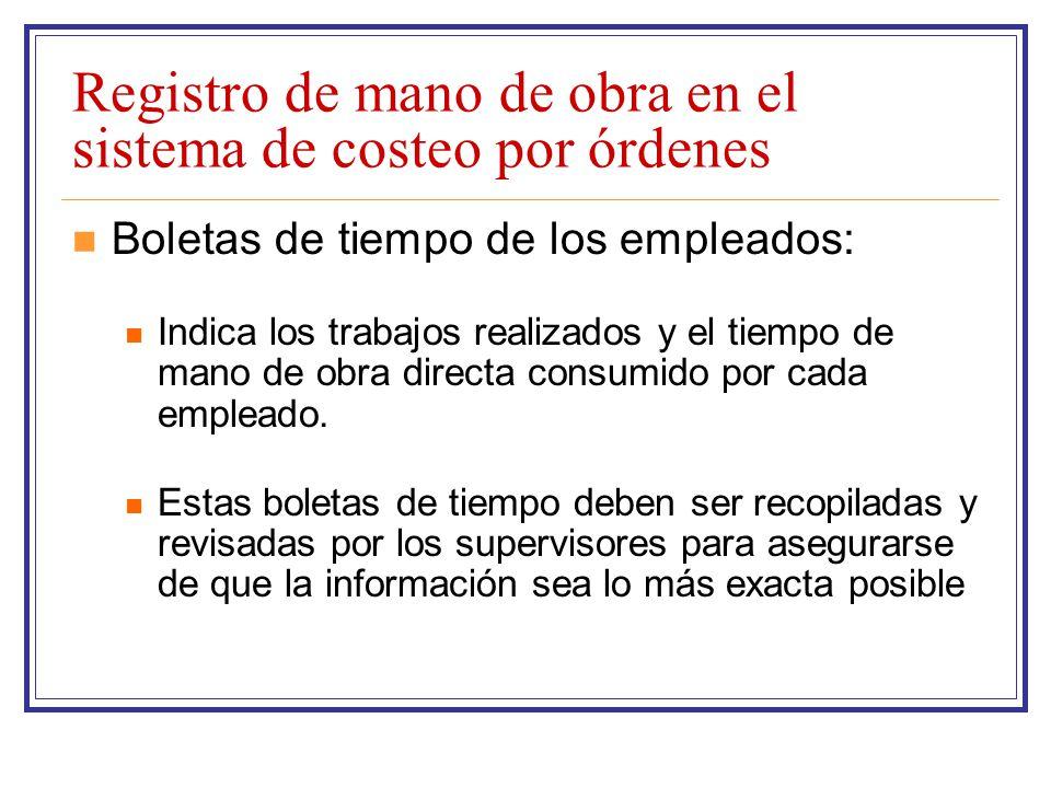 Registro de mano de obra en el sistema de costeo por órdenes Boletas de tiempo de los empleados: Indica los trabajos realizados y el tiempo de mano de
