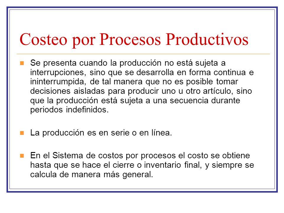 Costeo por Procesos Productivos Se presenta cuando la producción no está sujeta a interrupciones, sino que se desarrolla en forma continua e ininterru