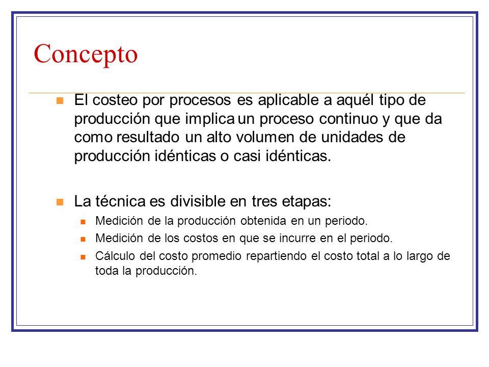 Concepto El costeo por procesos es aplicable a aquél tipo de producción que implica un proceso continuo y que da como resultado un alto volumen de uni