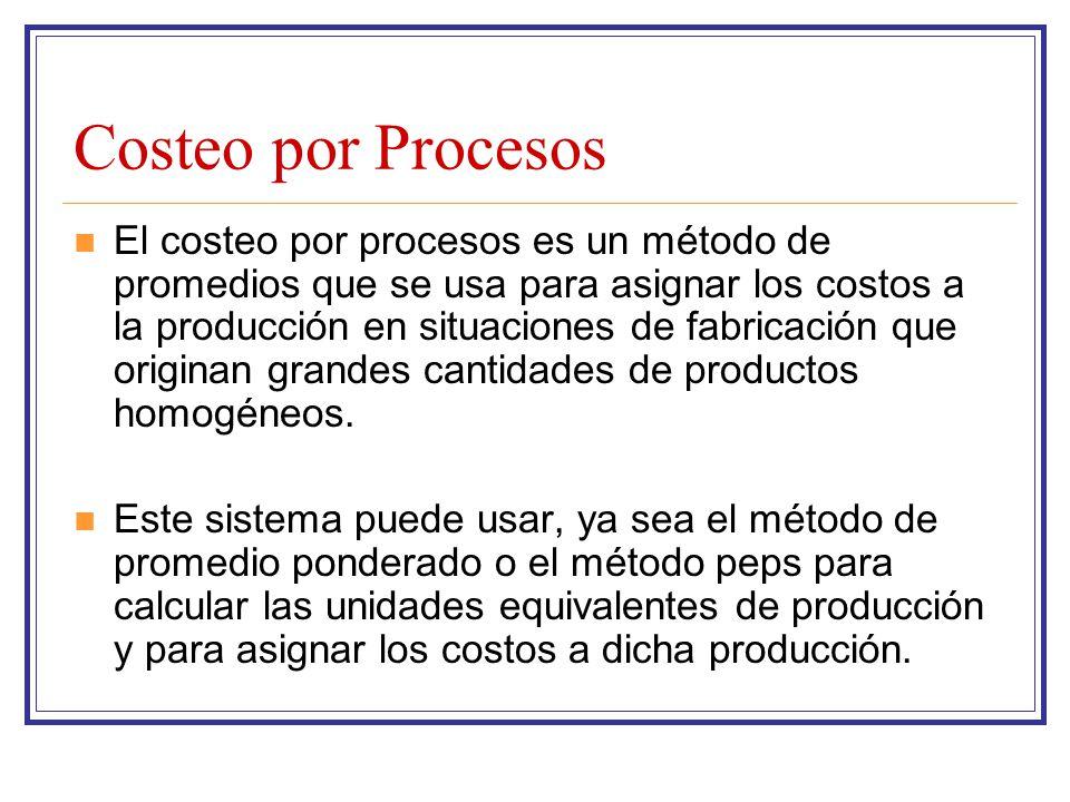Costeo por Procesos El costeo por procesos es un método de promedios que se usa para asignar los costos a la producción en situaciones de fabricación