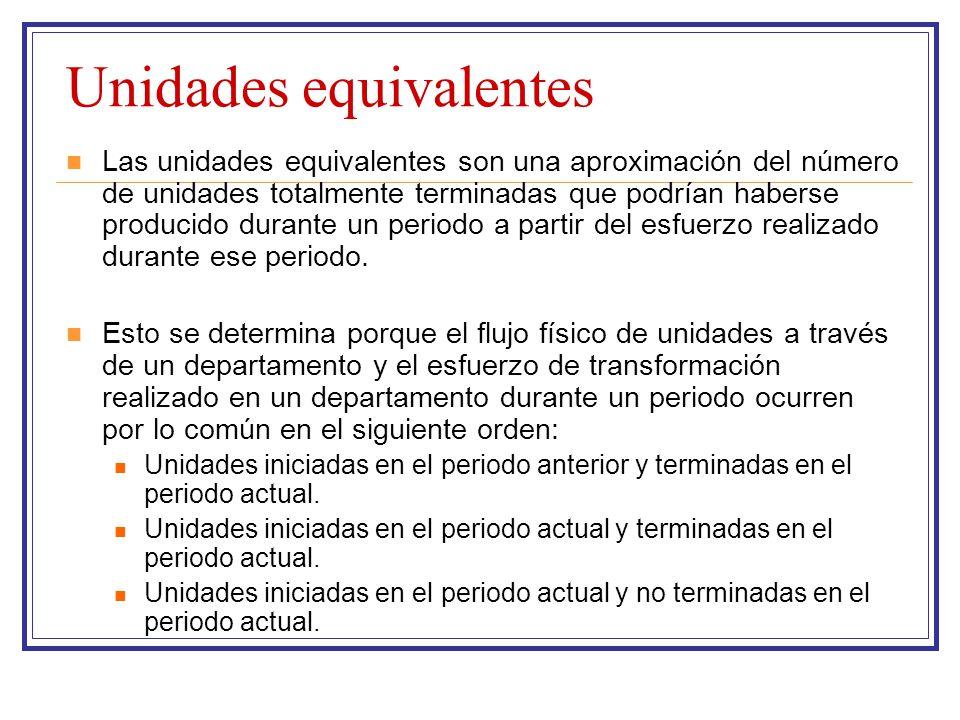 Unidades equivalentes Las unidades equivalentes son una aproximación del número de unidades totalmente terminadas que podrían haberse producido durant