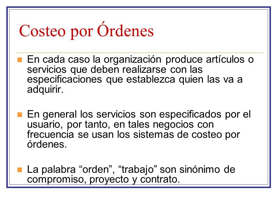 Costeo por Órdenes El costeo de los productos incluye: La identificación de los costos La medición del costo La asignación del costo a los productos En un sistema de costos por órdenes, los costos se acumulan individualmente con base en cada orden.