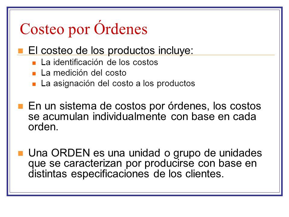 Costeo por Órdenes El costeo de los productos incluye: La identificación de los costos La medición del costo La asignación del costo a los productos E