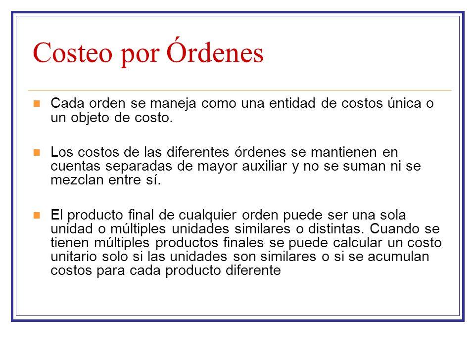 Costeo por Órdenes Cada orden se maneja como una entidad de costos única o un objeto de costo. Los costos de las diferentes órdenes se mantienen en cu