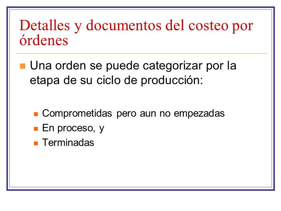 Detalles y documentos del costeo por órdenes Una orden se puede categorizar por la etapa de su ciclo de producción: Comprometidas pero aun no empezada