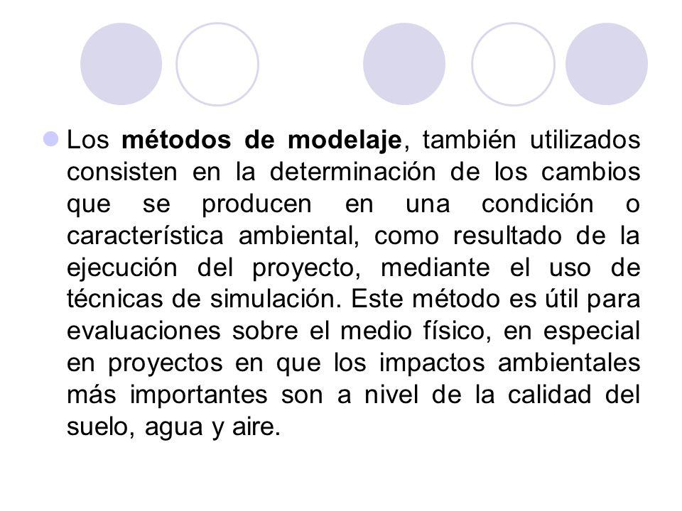 Los métodos de modelaje, también utilizados consisten en la determinación de los cambios que se producen en una condición o característica ambiental,