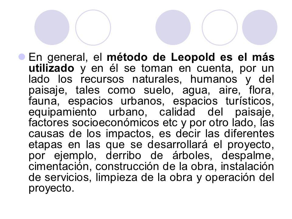 En general, el método de Leopold es el más utilizado y en él se toman en cuenta, por un lado los recursos naturales, humanos y del paisaje, tales como