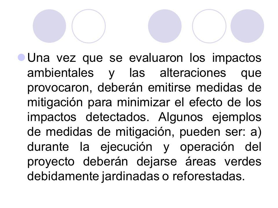 Una vez que se evaluaron los impactos ambientales y las alteraciones que provocaron, deberán emitirse medidas de mitigación para minimizar el efecto d