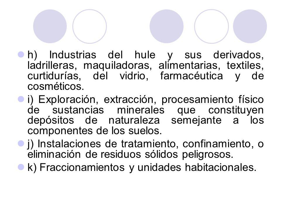 h) Industrias del hule y sus derivados, ladrilleras, maquiladoras, alimentarias, textiles, curtidurías, del vidrio, farmacéutica y de cosméticos. i) E