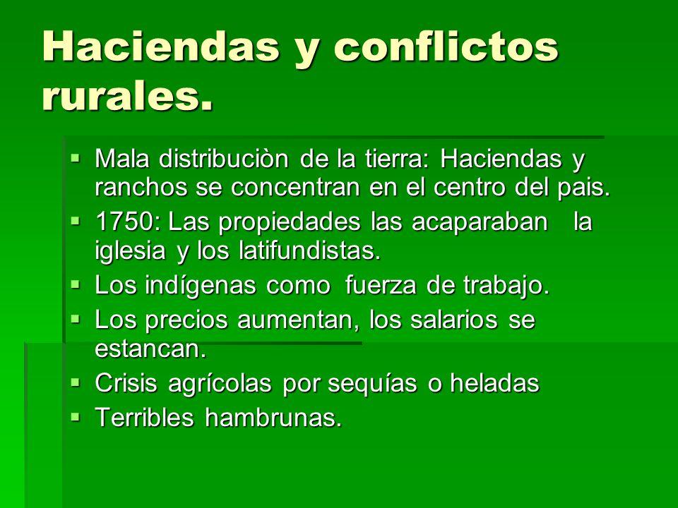 Haciendas y conflictos rurales. Mala distribuciòn de la tierra: Haciendas y ranchos se concentran en el centro del pais. Mala distribuciòn de la tierr