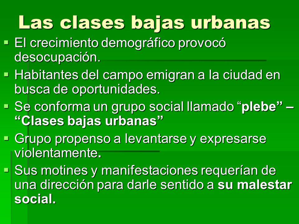 Las clases bajas urbanas El crecimiento demográfico provocó desocupación. El crecimiento demográfico provocó desocupación. Habitantes del campo emigra