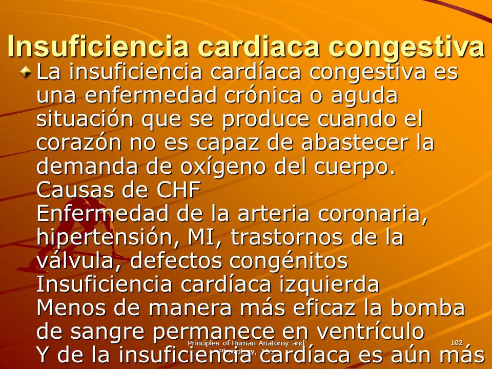 Principles of Human Anatomy and Physiology, 11e 102 Insuficiencia cardiaca congestiva La insuficiencia cardíaca congestiva es una enfermedad crónica o