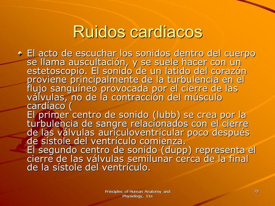 Principles of Human Anatomy and Physiology, 11e 72 Ruidos cardiacos El acto de escuchar los sonidos dentro del cuerpo se llama auscultación, y se suel