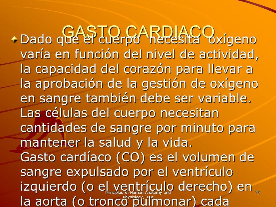 Principles of Human Anatomy and Physiology, 11e 75 GASTO CARDIACO Dado que el cuerpo necesita oxígeno varía en función del nivel de actividad, la capa