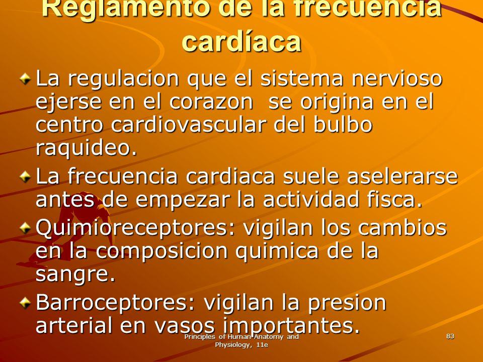 Principles of Human Anatomy and Physiology, 11e 83 Reglamento de la frecuencia cardíaca La regulacion que el sistema nervioso ejerse en el corazon se