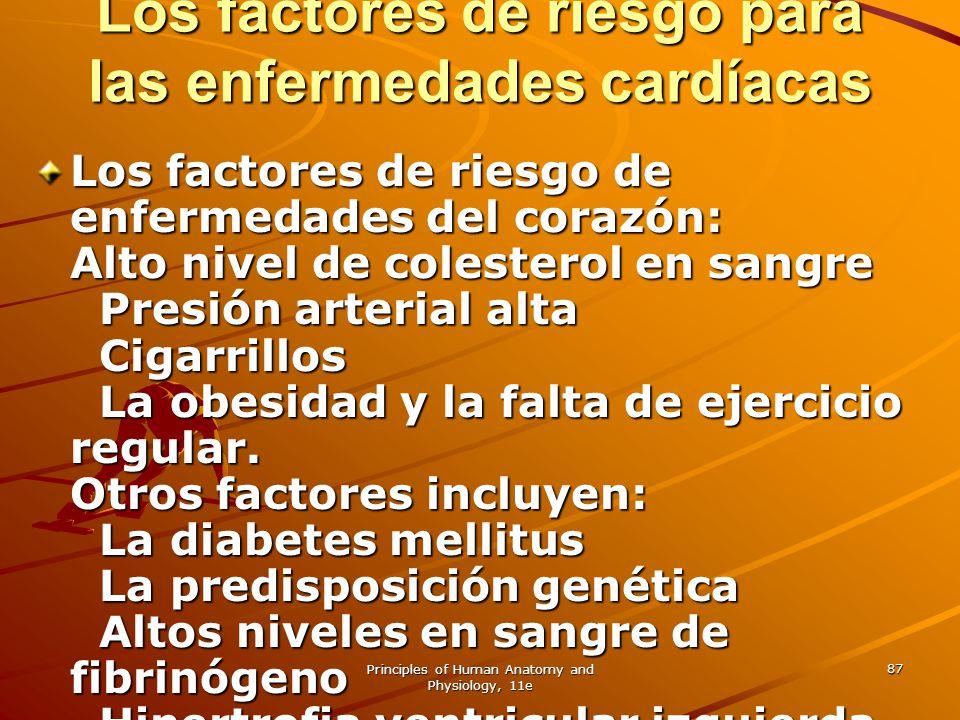 Principles of Human Anatomy and Physiology, 11e 87 Los factores de riesgo para las enfermedades cardíacas Los factores de riesgo de enfermedades del c