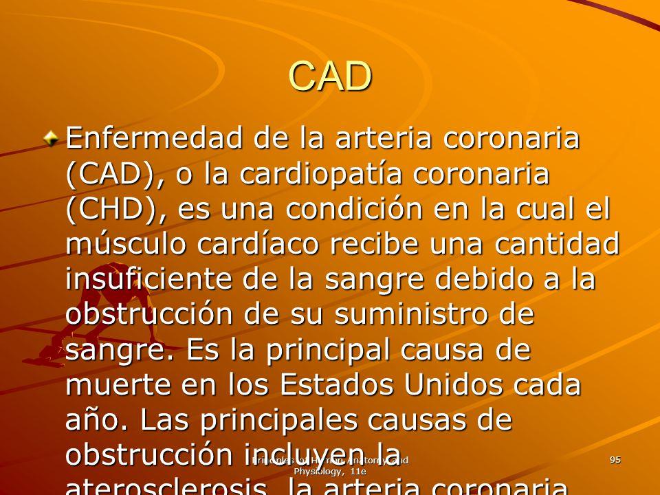 Principles of Human Anatomy and Physiology, 11e 95 CAD Enfermedad de la arteria coronaria (CAD), o la cardiopatía coronaria (CHD), es una condición en