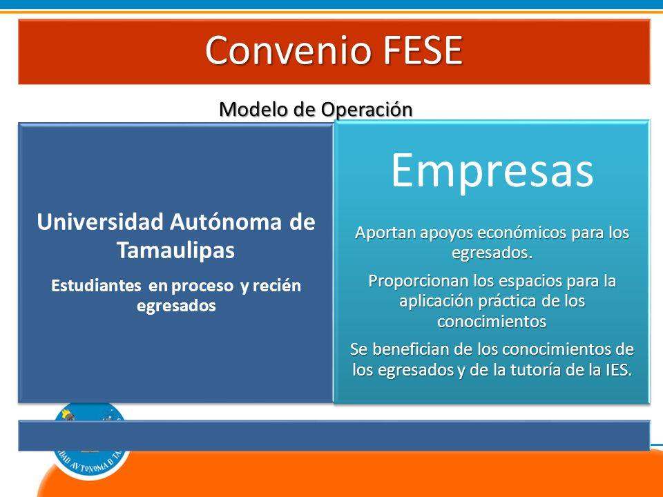 Convenio FESE Universidad Autónoma de Tamaulipas Estudiantes en proceso y recién egresados Empresas Aportan apoyos económicos para los egresados.