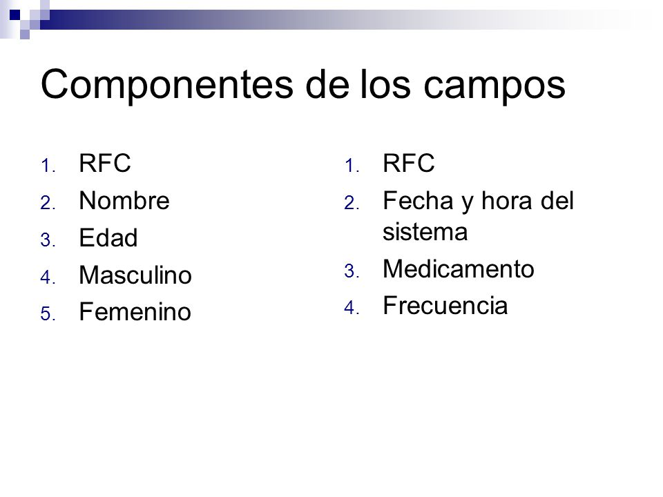 Componentes de los campos 1. RFC 2. Nombre 3. Edad 4. Masculino 5. Femenino 1. RFC 2. Fecha y hora del sistema 3. Medicamento 4. Frecuencia