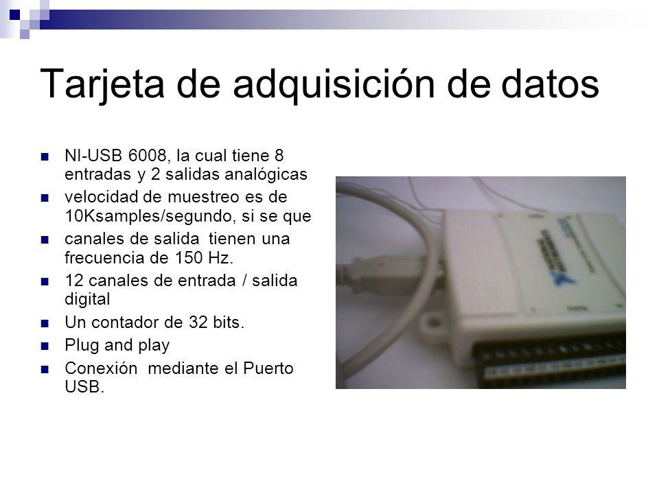 Tarjeta de adquisición de datos NI-USB 6008, la cual tiene 8 entradas y 2 salidas analógicas velocidad de muestreo es de 10Ksamples/segundo, si se que