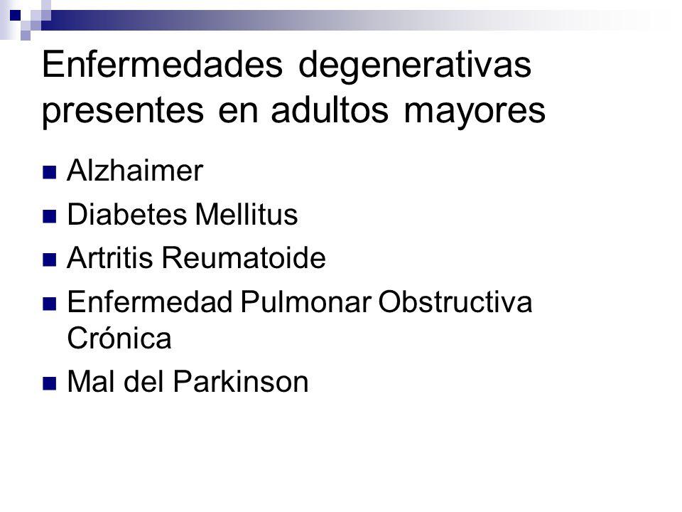 Enfermedades degenerativas presentes en adultos mayores Alzhaimer Diabetes Mellitus Artritis Reumatoide Enfermedad Pulmonar Obstructiva Crónica Mal de