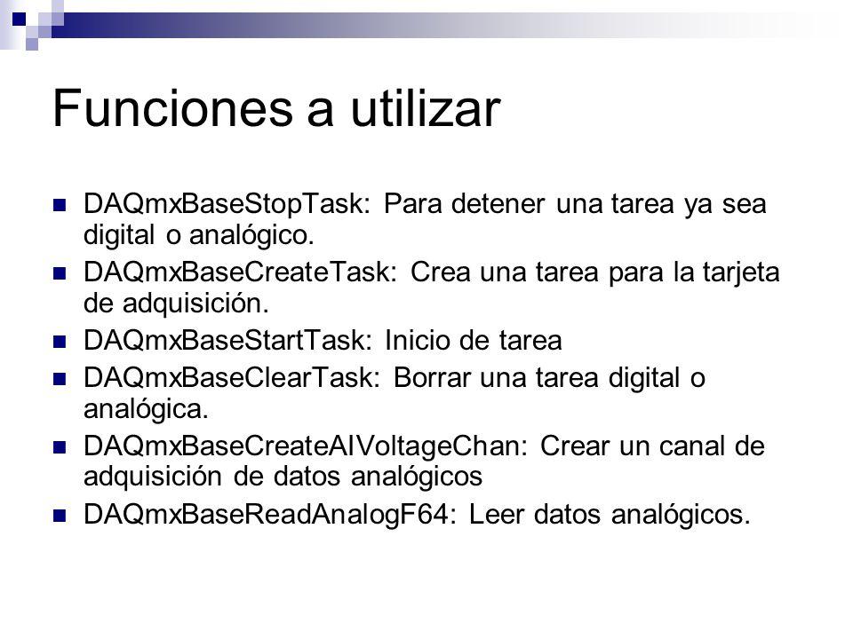 Funciones a utilizar DAQmxBaseStopTask: Para detener una tarea ya sea digital o analógico. DAQmxBaseCreateTask: Crea una tarea para la tarjeta de adqu
