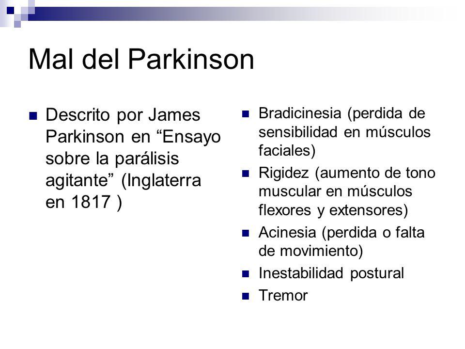 Descrito por James Parkinson en Ensayo sobre la parálisis agitante (Inglaterra en 1817 ) Bradicinesia (perdida de sensibilidad en músculos faciales) R