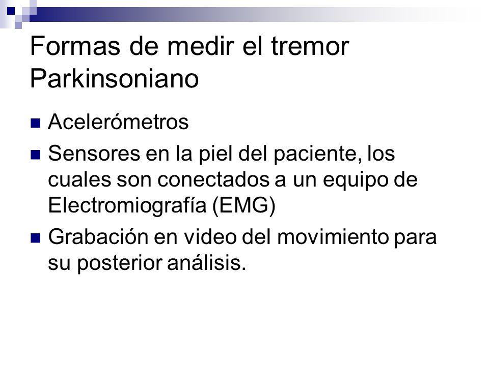 Formas de medir el tremor Parkinsoniano Acelerómetros Sensores en la piel del paciente, los cuales son conectados a un equipo de Electromiografía (EMG