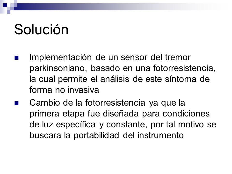 Solución Implementación de un sensor del tremor parkinsoniano, basado en una fotorresistencia, la cual permite el análisis de este síntoma de forma no