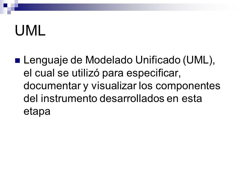 UML Lenguaje de Modelado Unificado (UML), el cual se utilizó para especificar, documentar y visualizar los componentes del instrumento desarrollados e