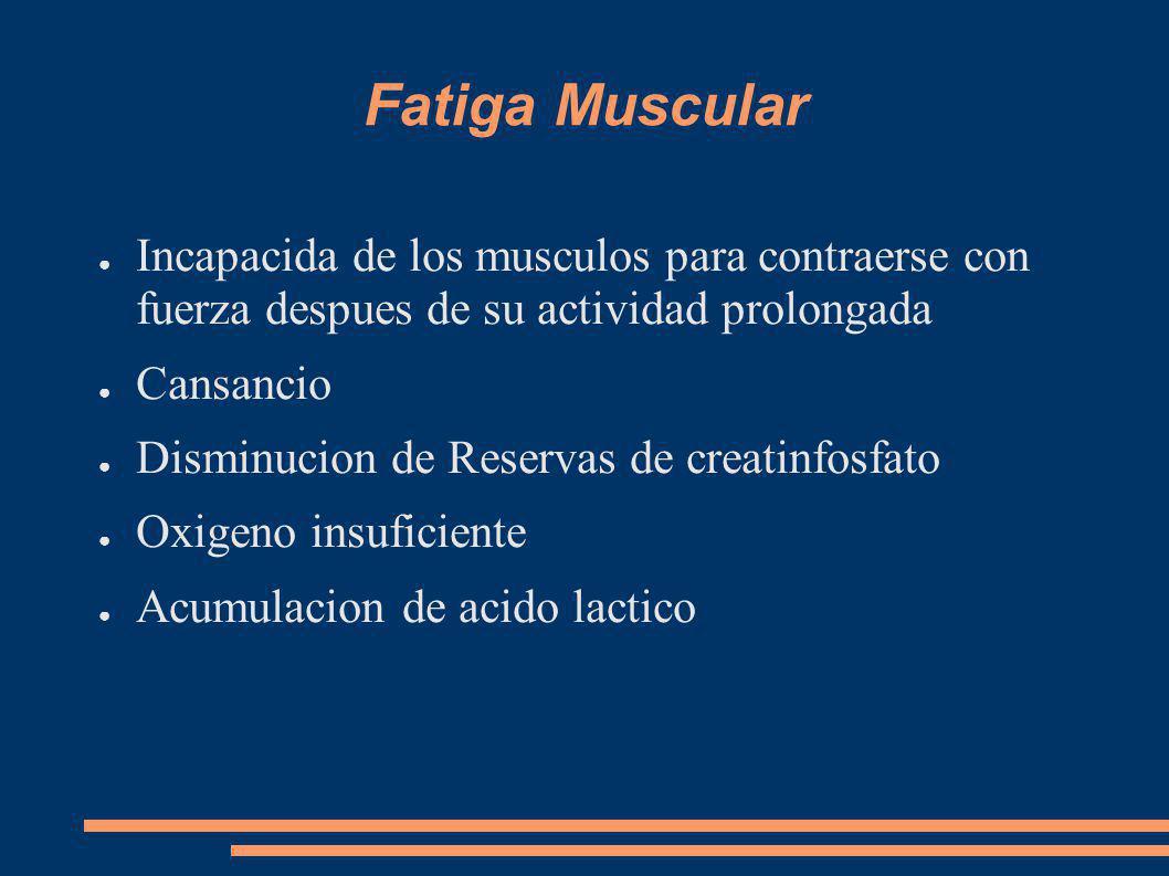 Fatiga Muscular Incapacida de los musculos para contraerse con fuerza despues de su actividad prolongada Cansancio Disminucion de Reservas de creatinfosfato Oxigeno insuficiente Acumulacion de acido lactico