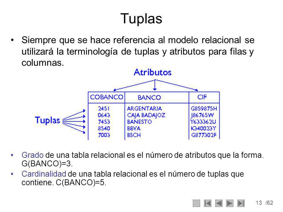 13/62 Tuplas Siempre que se hace referencia al modelo relacional se utilizará la terminología de tuplas y atributos para filas y columnas.