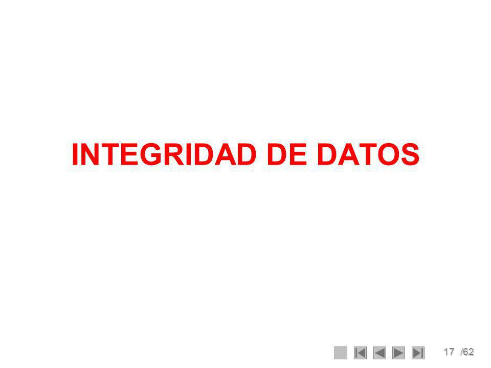 17/62 INTEGRIDAD DE DATOS