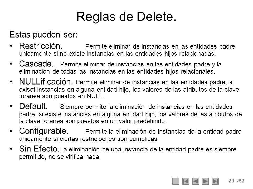 20/62 Reglas de Delete.Estas pueden ser: Restricción.