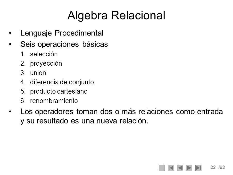 22/62 Algebra Relacional Lenguaje Procedimental Seis operaciones básicas 1.selección 2.proyección 3.union 4.diferencia de conjunto 5.producto cartesiano 6.renombramiento Los operadores toman dos o más relaciones como entrada y su resultado es una nueva relación.