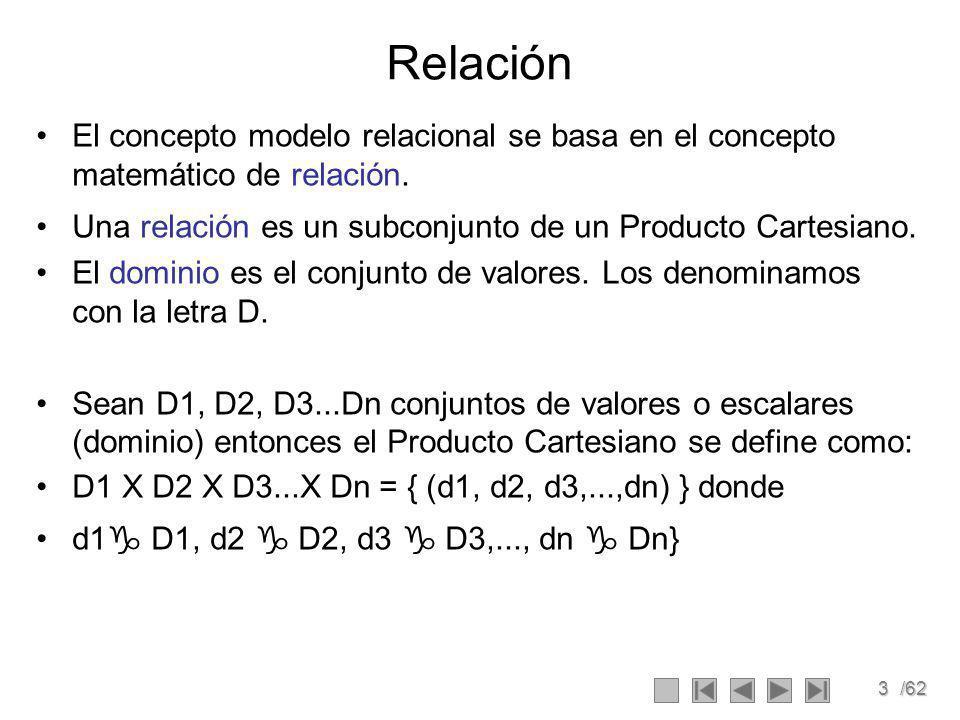 3/62 Relación El concepto modelo relacional se basa en el concepto matemático de relación.